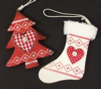 Nordic Wooden Christmas Tree Ornaments - White Stocking & Red Tree